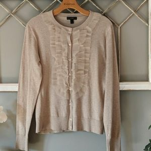 J Crew tan cardigan sweater with lace bib trim